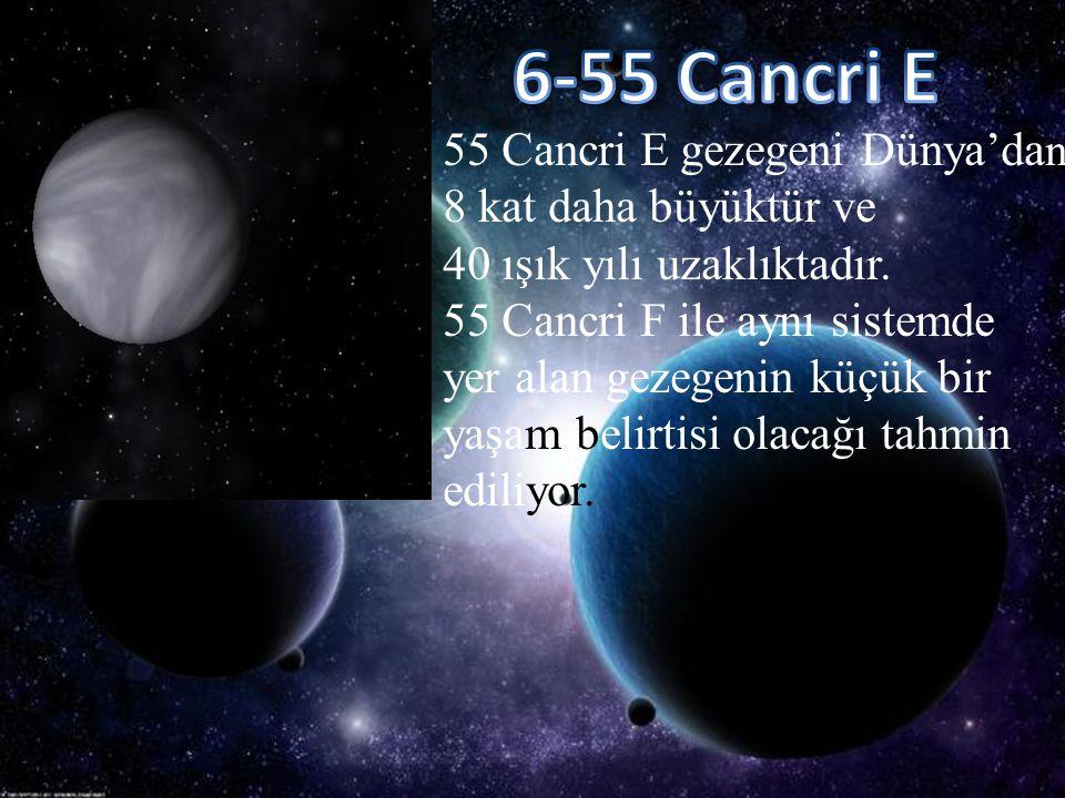 55 Cancri E gezegeni Dünya'da n 8 kat daha büyüktür ve 40 ışık yılı uzaklıktadır. 55 Cancri F ile aynı sistemde yer alan gezegenin küçük bir yaşam bel