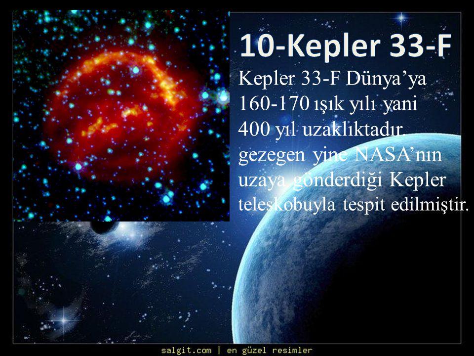 Kepler 33-F Dünya'ya 160-170 ışık yılı yani 400 yıl uzaklıktadır. gezegen yine NASA'nın uzaya gönderdiği Kepler teleskobuyla tespit edilmiştir.