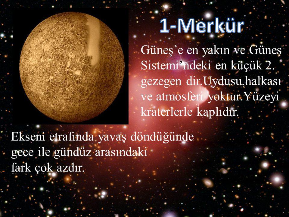 Güneş'e en yakın ve Güneş Sistemi'ndeki en küçük 2. gezegen dir.Uydusu,halkası ve atmosferi yoktur.Yüzeyi kraterlerle kaplıdır. Ekseni etrafında yavaş