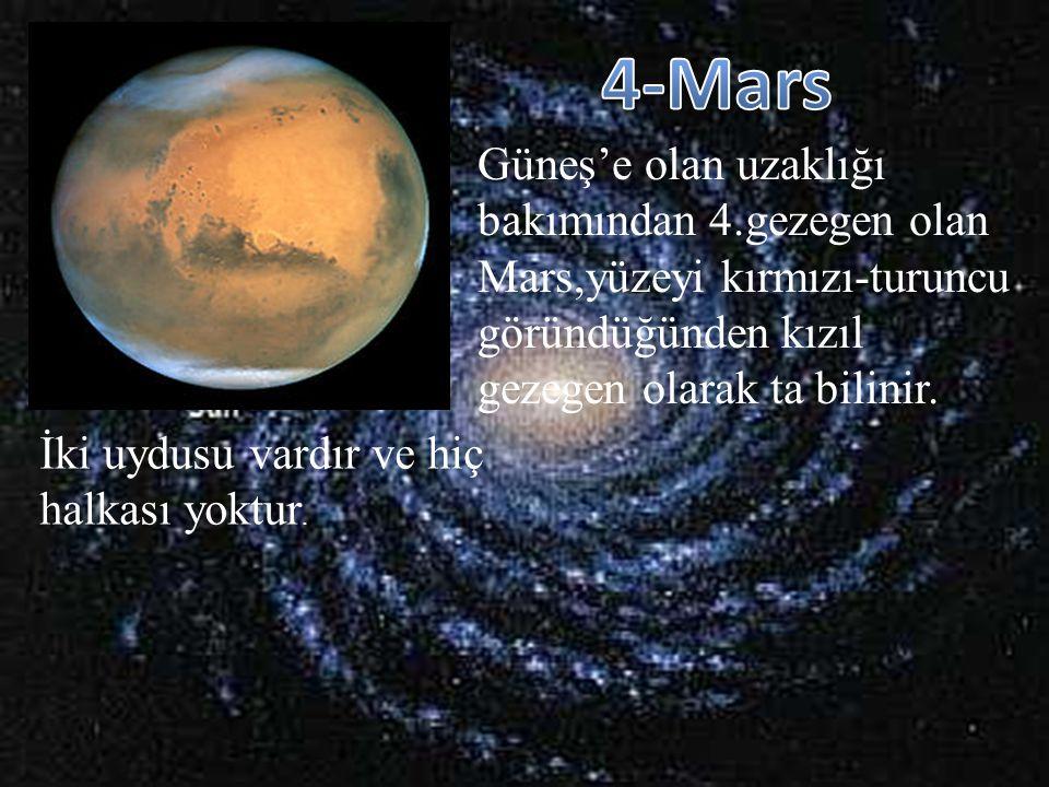 Güneş'e olan uzaklığı bakımından 4.gezegen olan Mars,yüzeyi kırmızı-turuncu göründüğünden kızıl gezegen olarak ta bilinir. İki uydusu vardır ve hiç ha