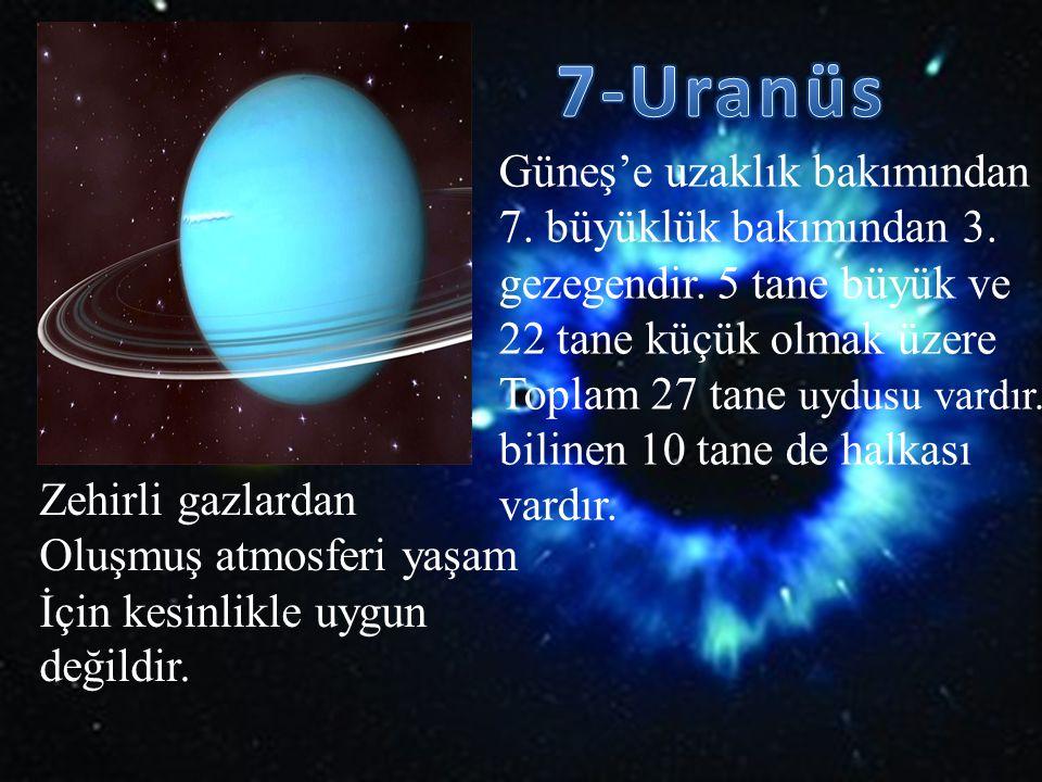 Güneş'e uzaklık bakımından 7. büyüklük bakımından 3. gezegendir. 5 tane büyük ve 22 tane küçük olmak üzere Toplam 27 tane uydusu vardır. bilinen 10 ta