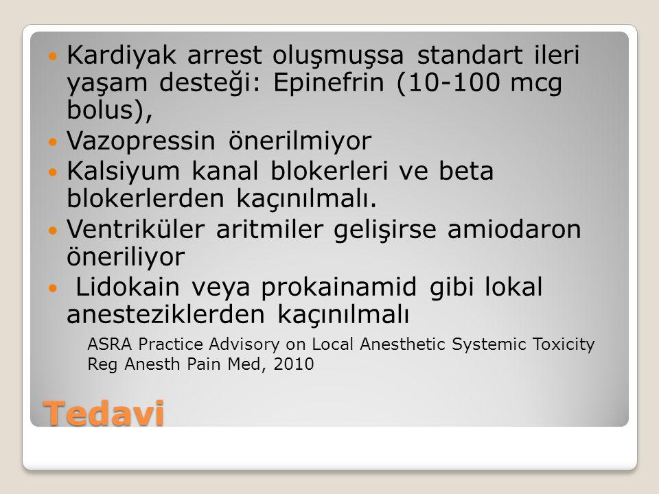 Tedavi Kardiyak arrest oluşmuşsa standart ileri yaşam desteği: Epinefrin (10-100 mcg bolus), Vazopressin önerilmiyor Kalsiyum kanal blokerleri ve beta blokerlerden kaçınılmalı.
