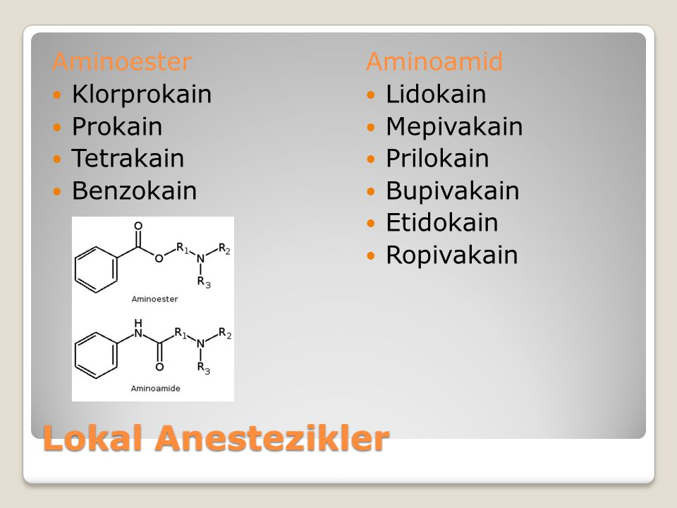 Lokal Anestezikler Aminoester Klorprokain Prokain Tetrakain Benzokain Aminoamid Lidokain Mepivakain Prilokain Bupivakain Etidokain Ropivakain