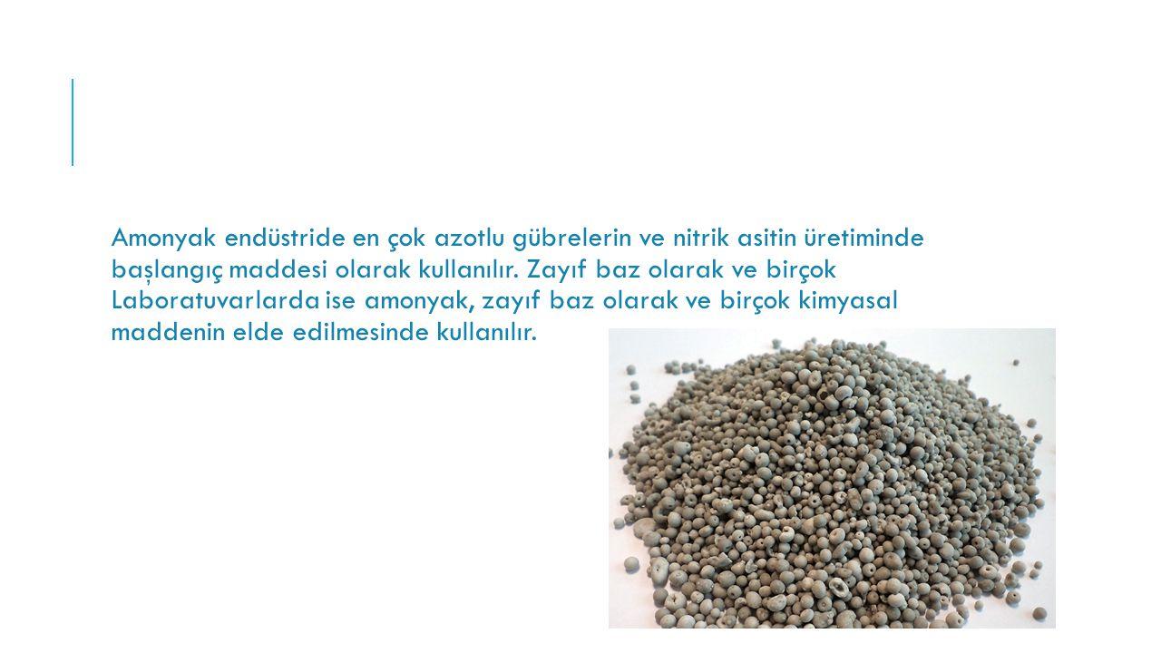 Amonyak endüstride en çok azotlu gübrelerin ve nitrik asitin üretiminde başlangıç maddesi olarak kullanılır. Zayıf baz olarak ve birçok Laboratuvarlar
