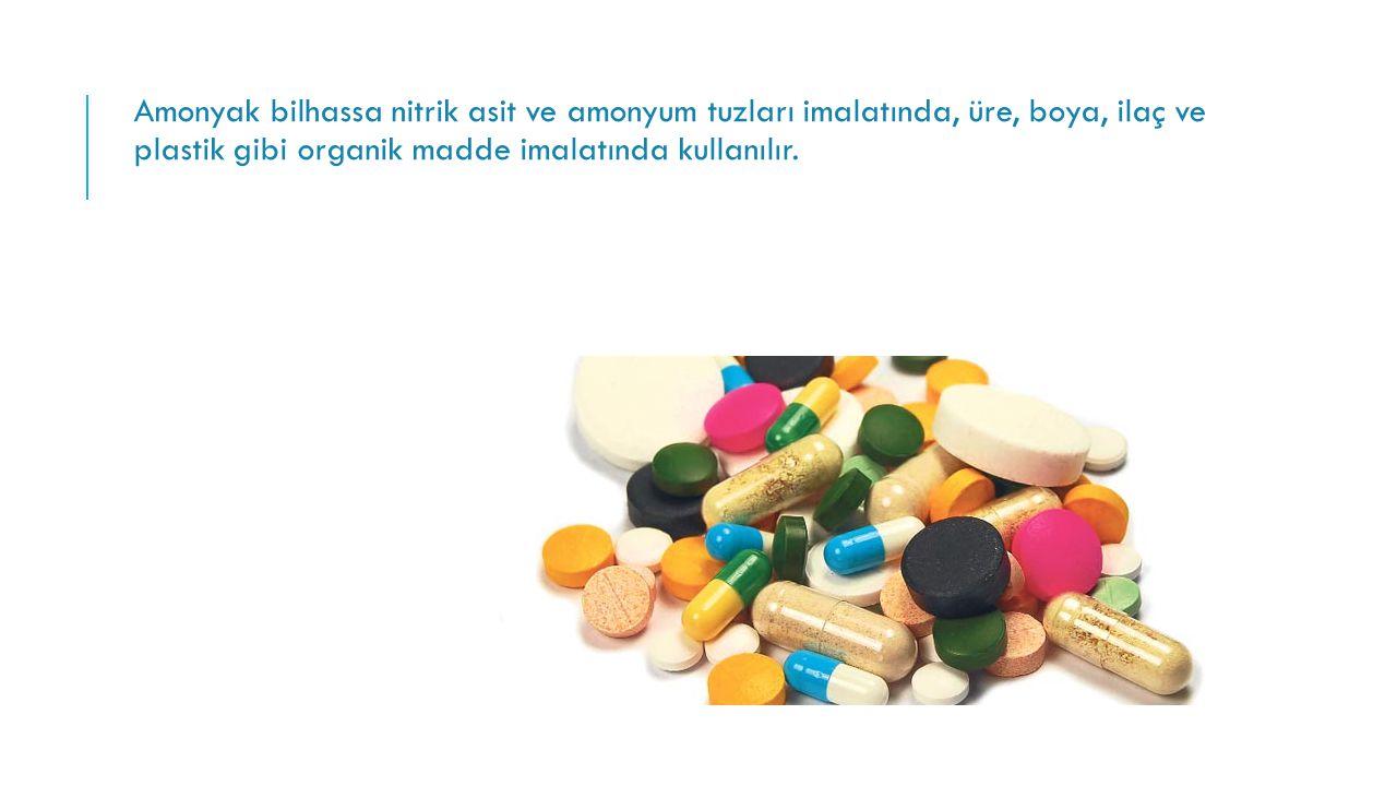 Amonyak bilhassa nitrik asit ve amonyum tuzları imalatında, üre, boya, ilaç ve plastik gibi organik madde imalatında kullanılır.