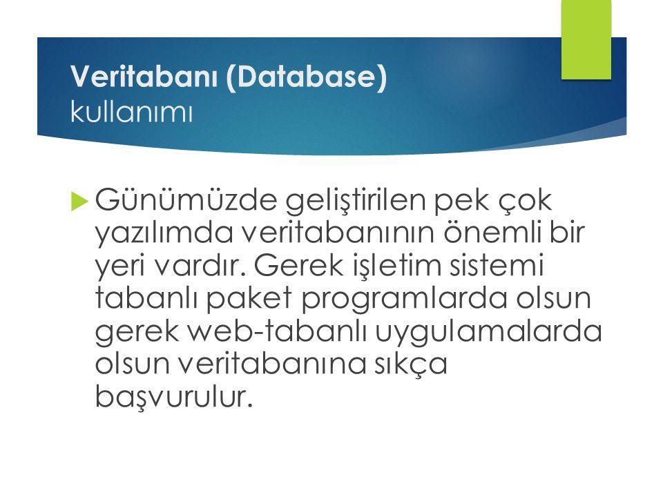 Veritabanı (Database) kullanımı  Günümüzde geliştirilen pek çok yazılımda veritabanının önemli bir yeri vardır. Gerek işletim sistemi tabanlı paket p