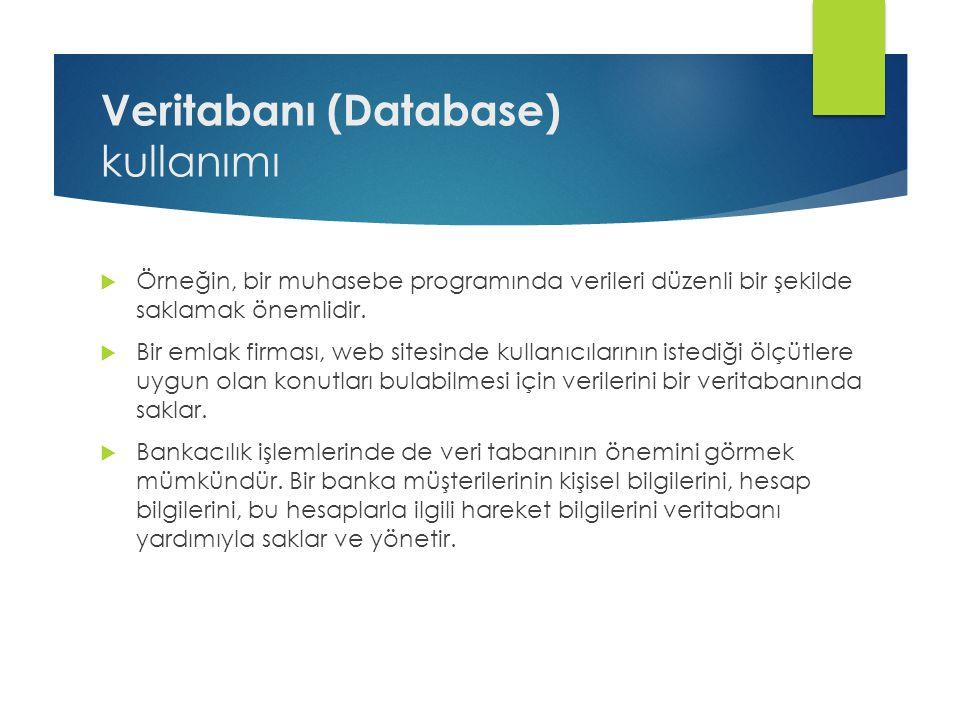 Veritabanı (Database) kullanımı  Örneğin, bir muhasebe programında verileri düzenli bir şekilde saklamak önemlidir.  Bir emlak firması, web sitesind