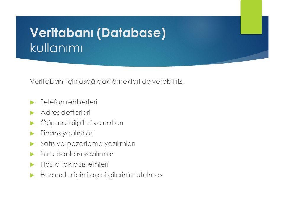 Veritabanı (Database) kullanımı Veritabanı için aşağıdaki örnekleri de verebiliriz.  Telefon rehberleri  Adres defterleri  Öğrenci bilgileri ve not