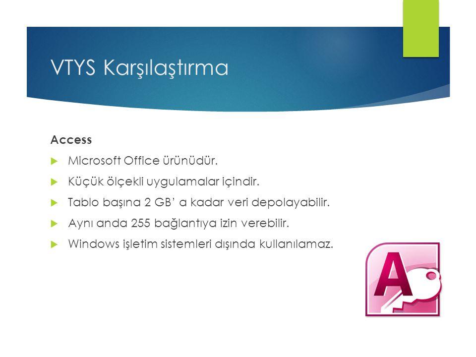 VTYS Karşılaştırma Access  Microsoft Office ürünüdür.  Küçük ölçekli uygulamalar içindir.  Tablo başına 2 GB' a kadar veri depolayabilir.  Aynı an