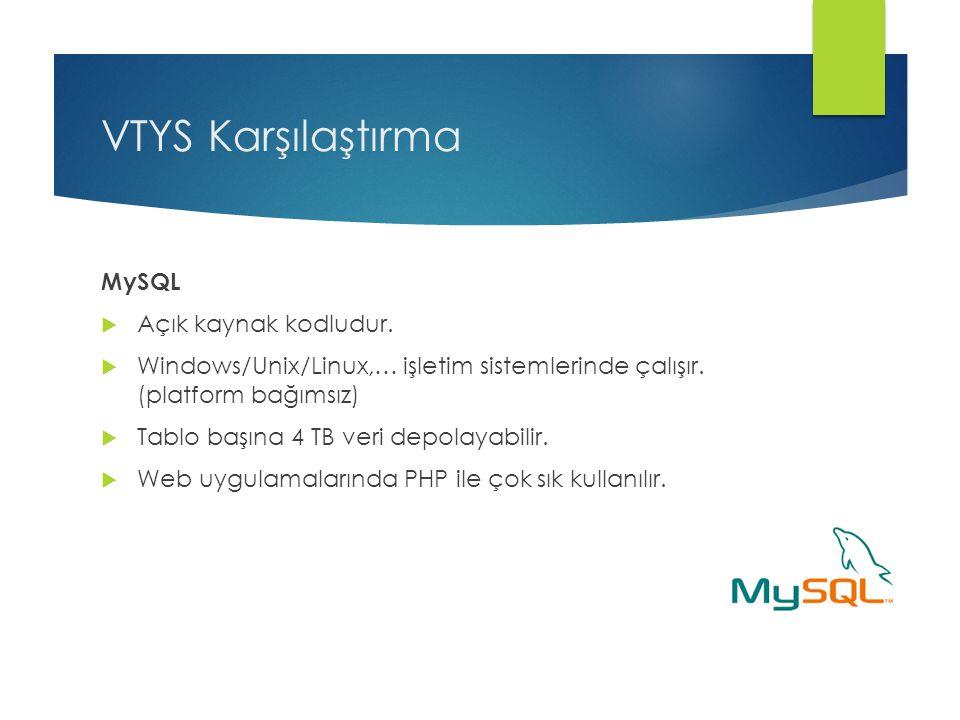 VTYS Karşılaştırma MySQL  Açık kaynak kodludur.  Windows/Unix/Linux,… işletim sistemlerinde çalışır. (platform bağımsız)  Tablo başına 4 TB veri de