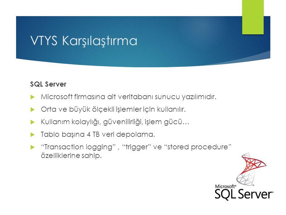 VTYS Karşılaştırma SQL Server  Microsoft firmasına ait veritabanı sunucu yazılımıdır.  Orta ve büyük ölçekli işlemler için kullanılır.  Kullanım ko