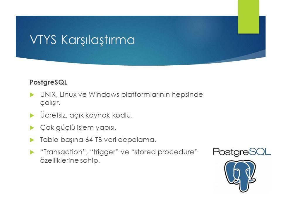 VTYS Karşılaştırma PostgreSQL  UNIX, Linux ve Windows platformlarının hepsinde çalışır.  Ücretsiz, açık kaynak kodlu.  Çok güçlü işlem yapısı.  Ta
