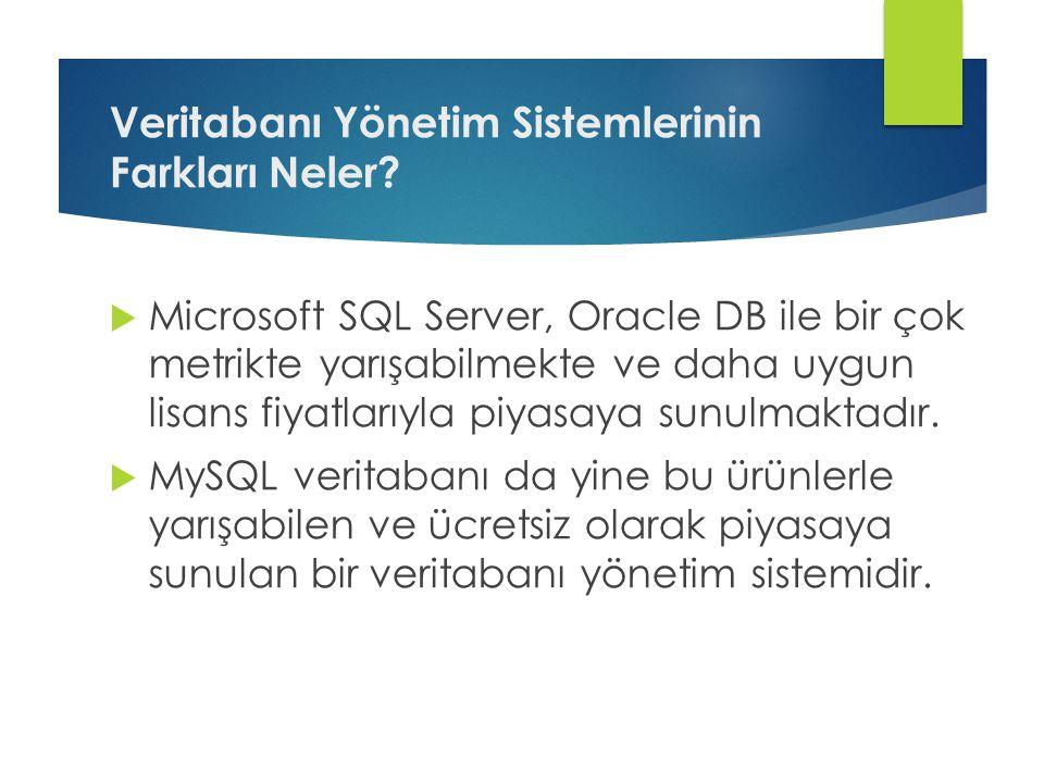 Veritabanı Yönetim Sistemlerinin Farkları Neler?  Microsoft SQL Server, Oracle DB ile bir çok metrikte yarışabilmekte ve daha uygun lisans fiyatlarıy