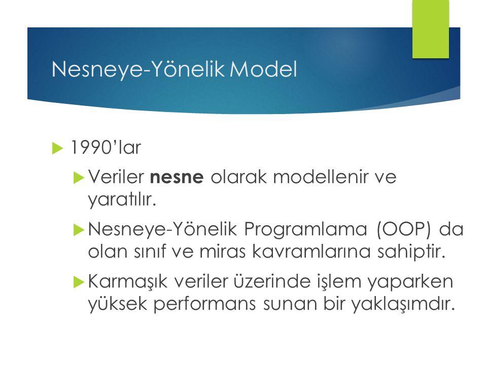 Nesneye-Yönelik Model  1990'lar  Veriler nesne olarak modellenir ve yaratılır.  Nesneye-Yönelik Programlama (OOP) da olan sınıf ve miras kavramları