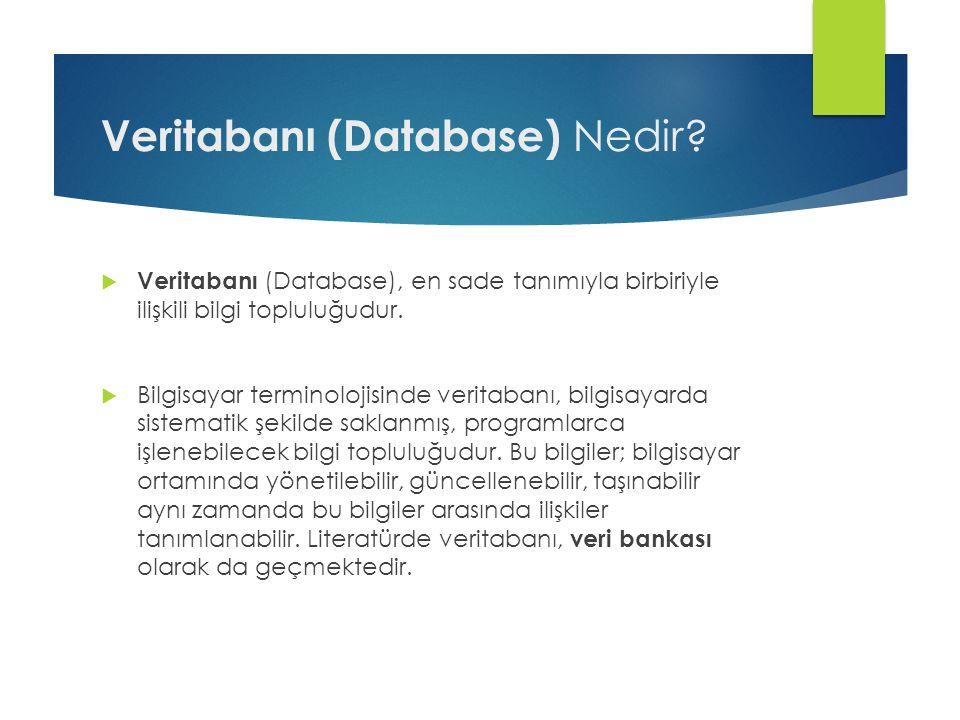 Veritabanı (Database) Nedir?  Veritabanı (Database), en sade tanımıyla birbiriyle ilişkili bilgi topluluğudur.  Bilgisayar terminolojisinde veritaba