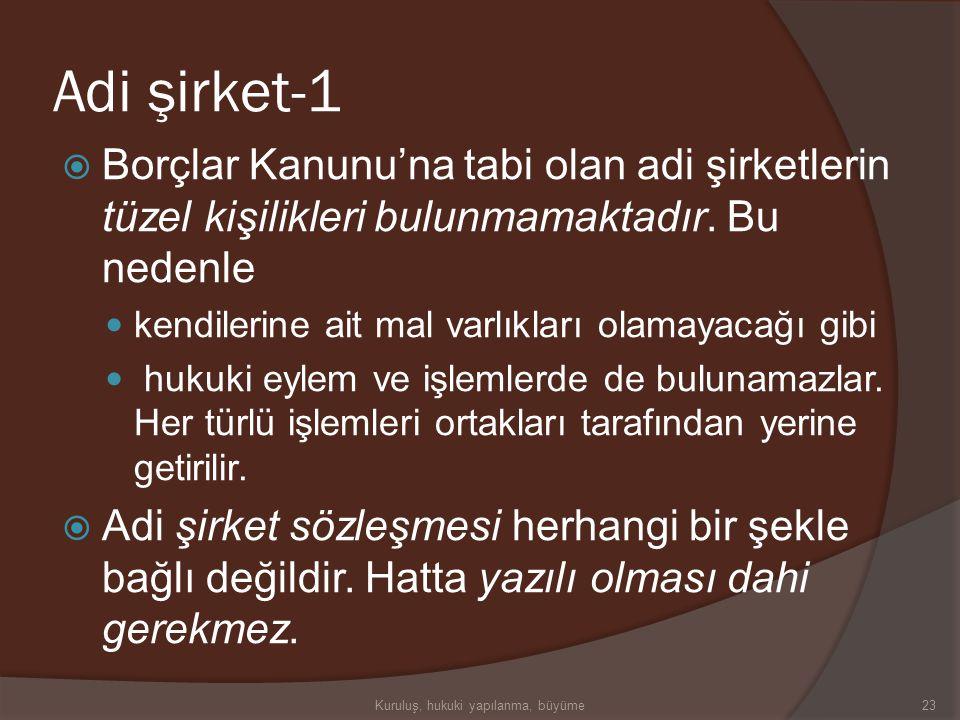Türk Ticaret Kanunu'na göre İşletme Türleri  Adi şirket  Kollektif şirket  Komandit şirket  Anonim şirket  Limited şirket  Sermayesi paylara böl