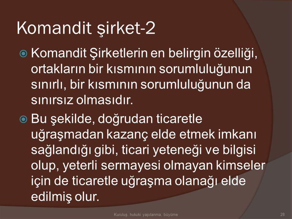 """Komandit şirket-1  Komandit Şirketler Türk Ticaret Kanunu'nda tanımlanmıştır. Yasada, """"Adi Komandit"""" ve """"Sermayesi Paylara Bölünmüş Komandit"""" şirketl"""