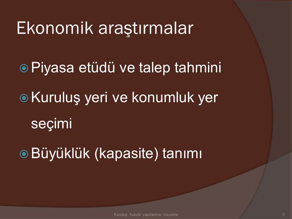 Kuruluş araştırmaları  Ekonomik araştırmalar  Teknik araştırmalar  Mali araştırmalar  Yasal araştırmalar  Kuruluş yeri 2Kuruluş, hukuki yapılanma