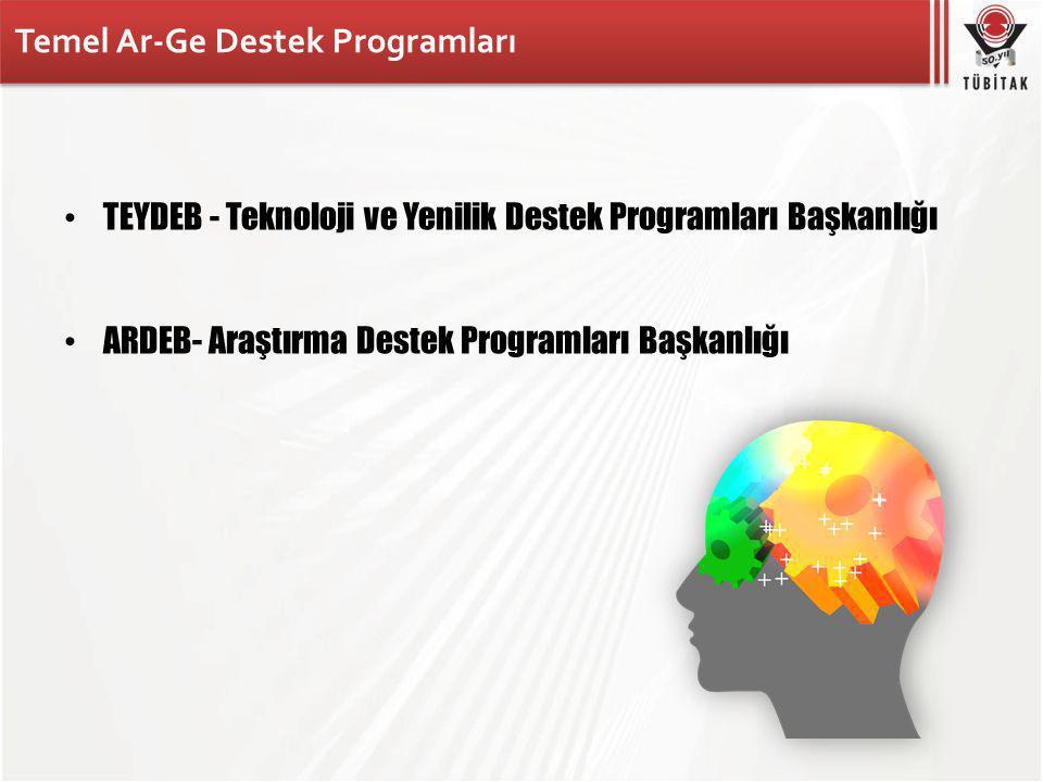 Temel Ar-Ge Destek Programları TEYDEB - Teknoloji ve Yenilik Destek Programları Başkanlığı ARDEB- Araştırma Destek Programları Başkanlığı