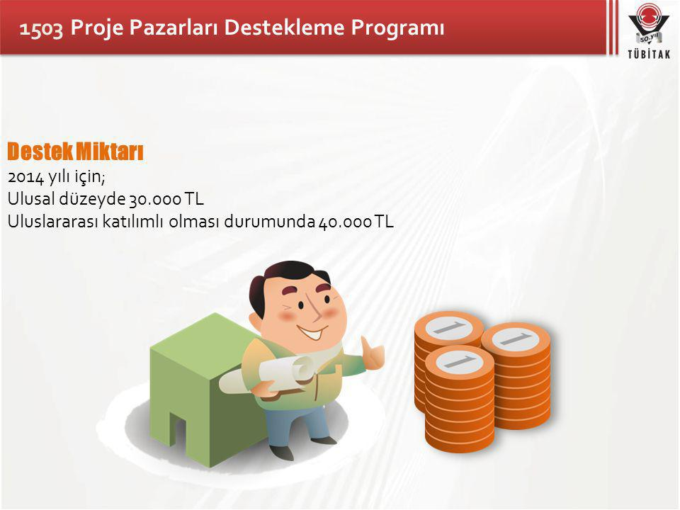 1503 Proje Pazarları Destekleme Programı Destek Miktarı 2014 yılı için; Ulusal düzeyde 30.000 TL Uluslararası katılımlı olması durumunda 40.000 TL