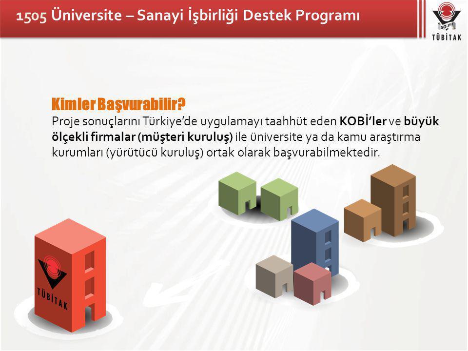 1505 Üniversite – Sanayi İşbirliği Destek Programı Kimler Başvurabilir.