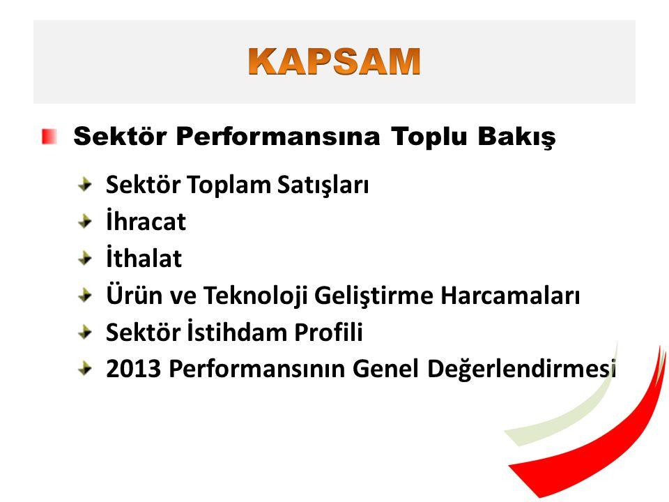 Sektör Performansına Toplu Bakış Sektör Toplam Satışları İhracat İthalat Ürün ve Teknoloji Geliştirme Harcamaları Sektör İstihdam Profili 2013 Performansının Genel Değerlendirmesi