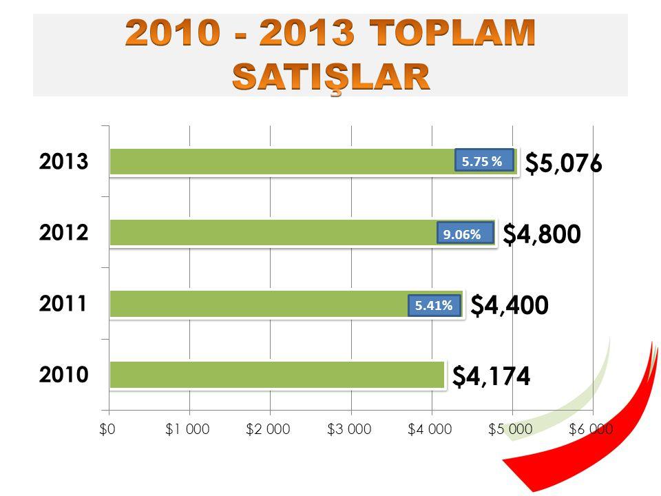2013 yılında en yüksek cirosu olan ilk 10 firma 214,2 Milyar $ toplam satış ile pazarın %35,7'sine sahip olmuştur.