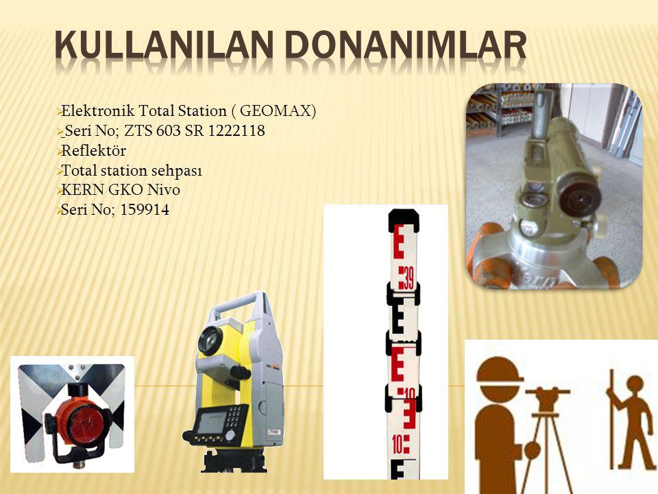  Elektronik Total Station ( GEOMAX)  Seri No; ZTS 603 SR 1222118  Reflektör  Total station sehpası  KERN GKO Nivo  Seri No; 159914