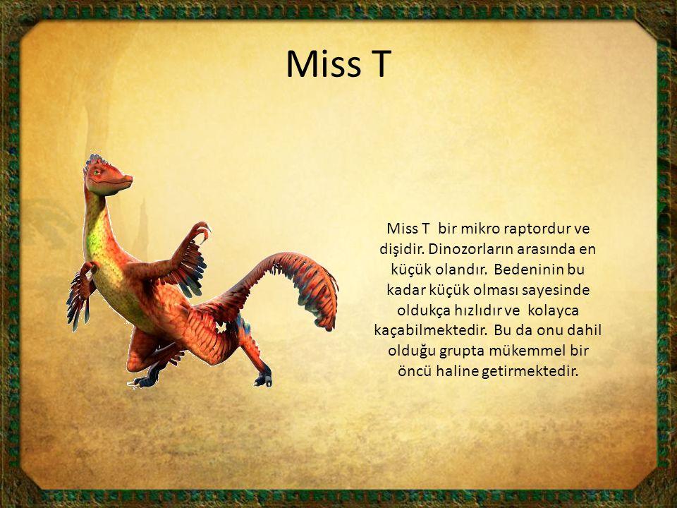 Miss T Miss T bir mikro raptordur ve dişidir. Dinozorların arasında en küçük olandır. Bedeninin bu kadar küçük olması sayesinde oldukça hızlıdır ve ko