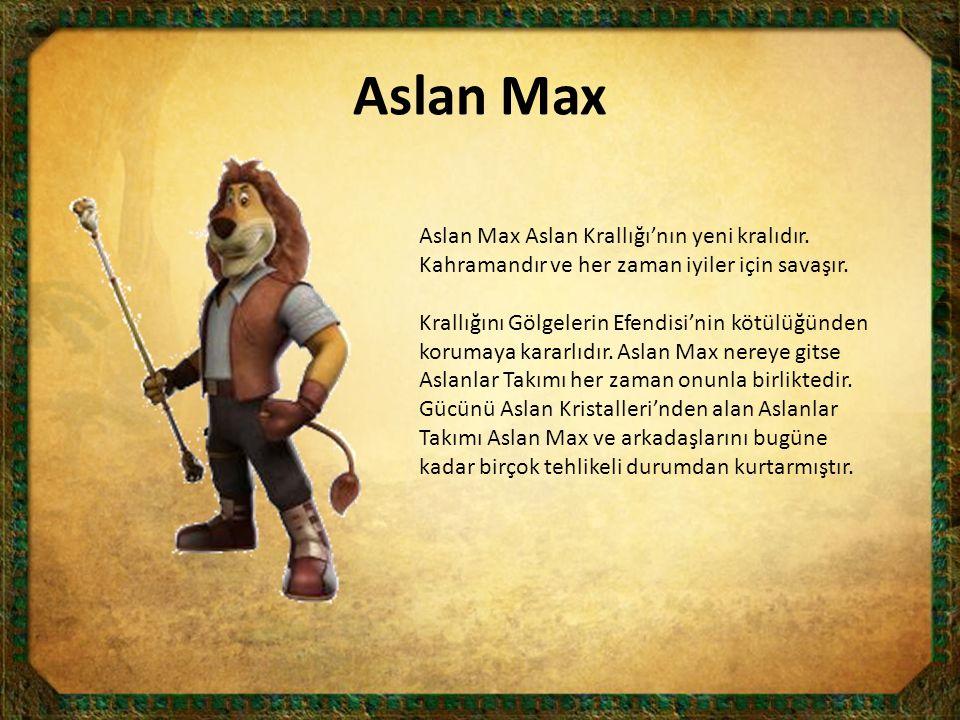 Aslan Max Aslan Max Aslan Krallığı'nın yeni kralıdır. Kahramandır ve her zaman iyiler için savaşır. Krallığını Gölgelerin Efendisi'nin kötülüğünden ko