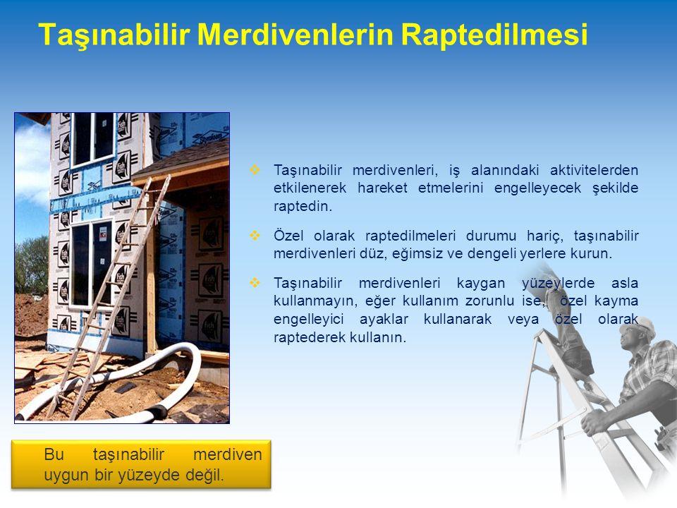 Taşınabilir Merdivenlerin Raptedilmesi  Taşınabilir merdivenleri, iş alanındaki aktivitelerden etkilenerek hareket etmelerini engelleyecek şekilde raptedin.