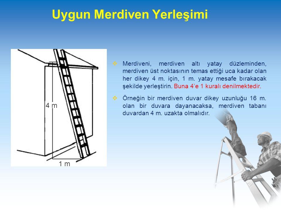 Merdivenin Uygun Bir Şekilde Kullanımı  Merdivenin stabilitesi (dengesi) hakkında herhangi bir kuşku varsa, ilave önlem alınarak denge sağlanmalıdır.