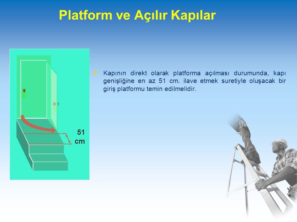 Platform ve Açılır Kapılar  Kapının direkt olarak platforma açılması durumunda, kapı genişliğine en az 51 cm.
