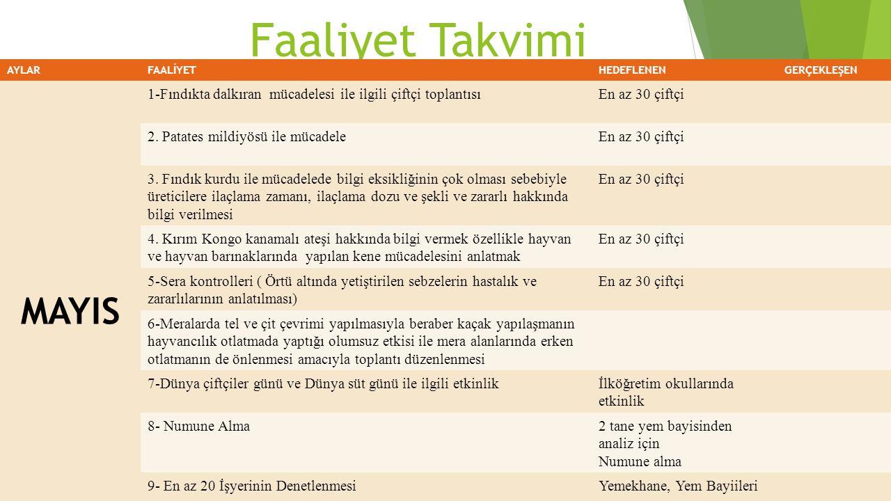 Faaliyet Takvimi AYLARFAALİYETHEDEFLENENGERÇEKLEŞEN MAYIS 1-Fındıkta dalkıran mücadelesi ile ilgili çiftçi toplantısıEn az 30 çiftçi 2. Patates mildiy