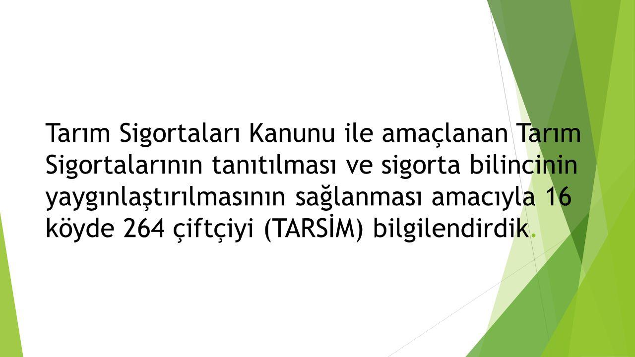Tarım Sigortaları Kanunu ile amaçlanan Tarım Sigortalarının tanıtılması ve sigorta bilincinin yaygınlaştırılmasının sağlanması amacıyla 16 köyde 264 ç