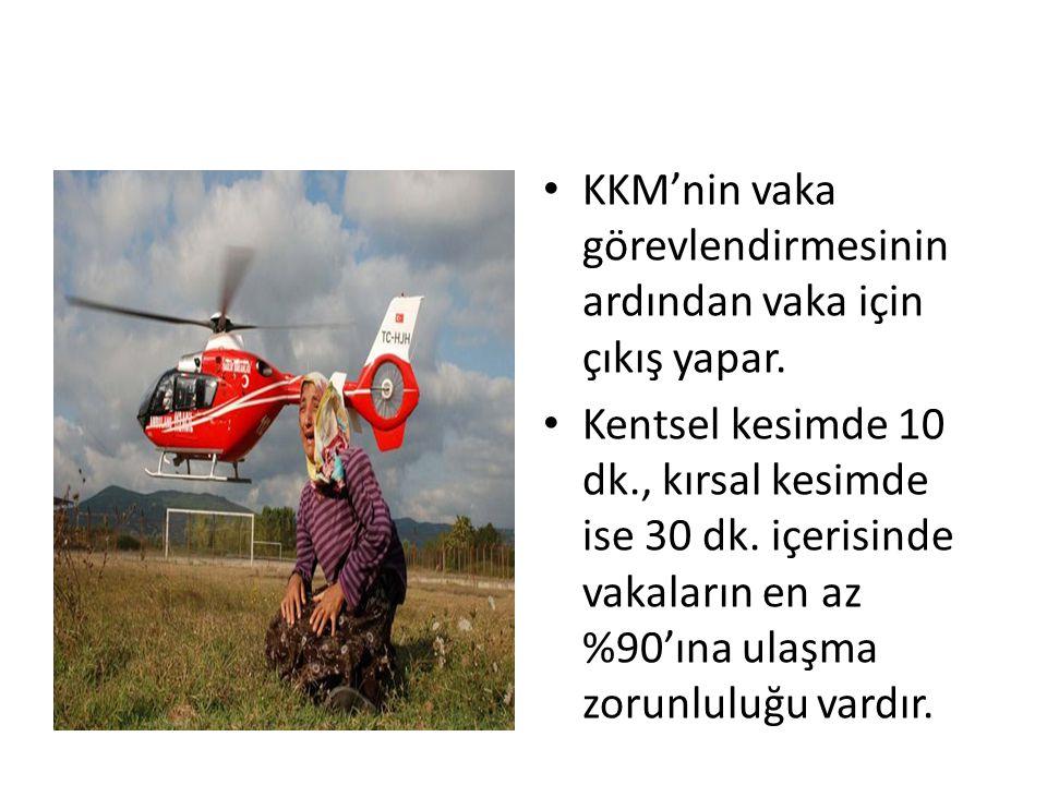 KKM'nin vaka görevlendirmesinin ardından vaka için çıkış yapar. Kentsel kesimde 10 dk., kırsal kesimde ise 30 dk. içerisinde vakaların en az %90'ına u