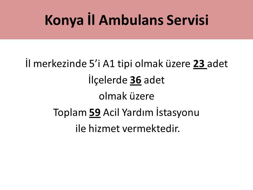 Konya İl Ambulans Servisi İl merkezinde 5'i A1 tipi olmak üzere 23 adet İlçelerde 36 adet olmak üzere Toplam 59 Acil Yardım İstasyonu ile hizmet verme
