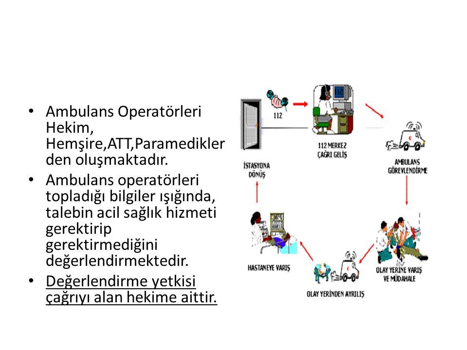 Ambulans Operatörleri Hekim, Hemşire,ATT,Paramedikler den oluşmaktadır. Ambulans operatörleri topladığı bilgiler ışığında, talebin acil sağlık hizmeti