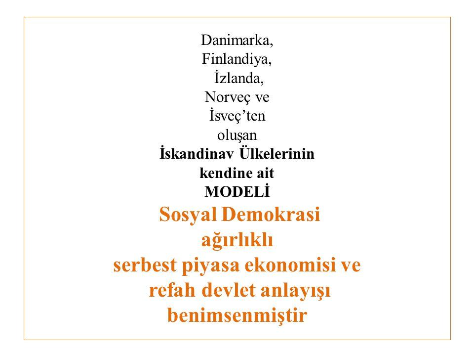 Danimarka, Finlandiya, İzlanda, Norveç ve İsveç'ten oluşan İskandinav Ülkelerinin kendine ait MODELİ Sosyal Demokrasi ağırlıklı serbest piyasa ekonomisi ve refah devlet anlayışı benimsenmiştir