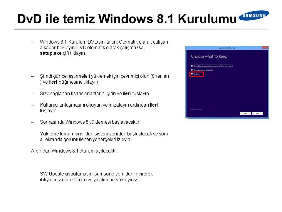 DvD ile temiz Windows 8.1 Kurulumu –Windows 8.1 Kurulum DVD'sini takın. Otomatik olarak çalışan a kadar bekleyin.DVD otomatik olarak çalışmazsa, setup