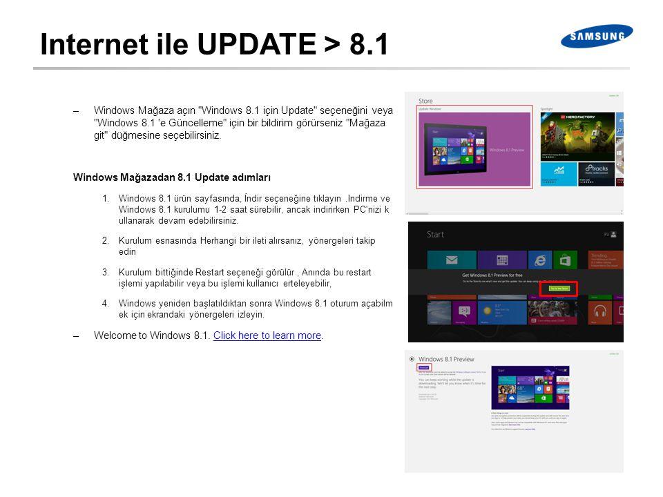 Internet ile UPDATE > 8.1 –Windows Mağaza açın