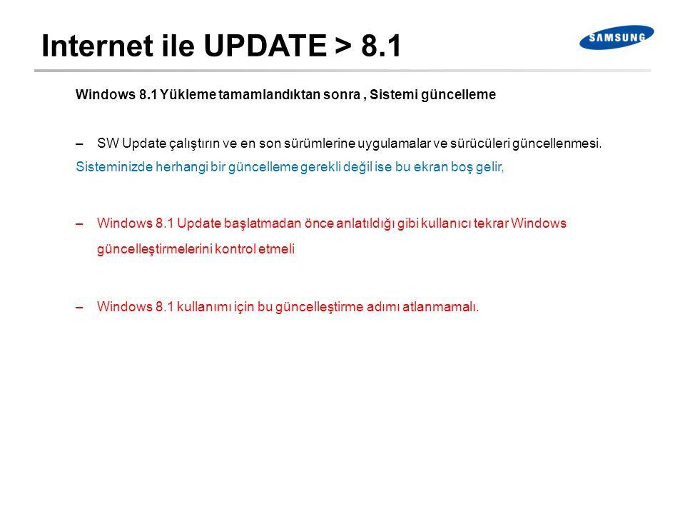 Internet ile UPDATE > 8.1 Windows 8.1 Yükleme tamamlandıktan sonra, Sistemi güncelleme –SW Update çalıştırın ve en son sürümlerine uygulamalar ve sürü