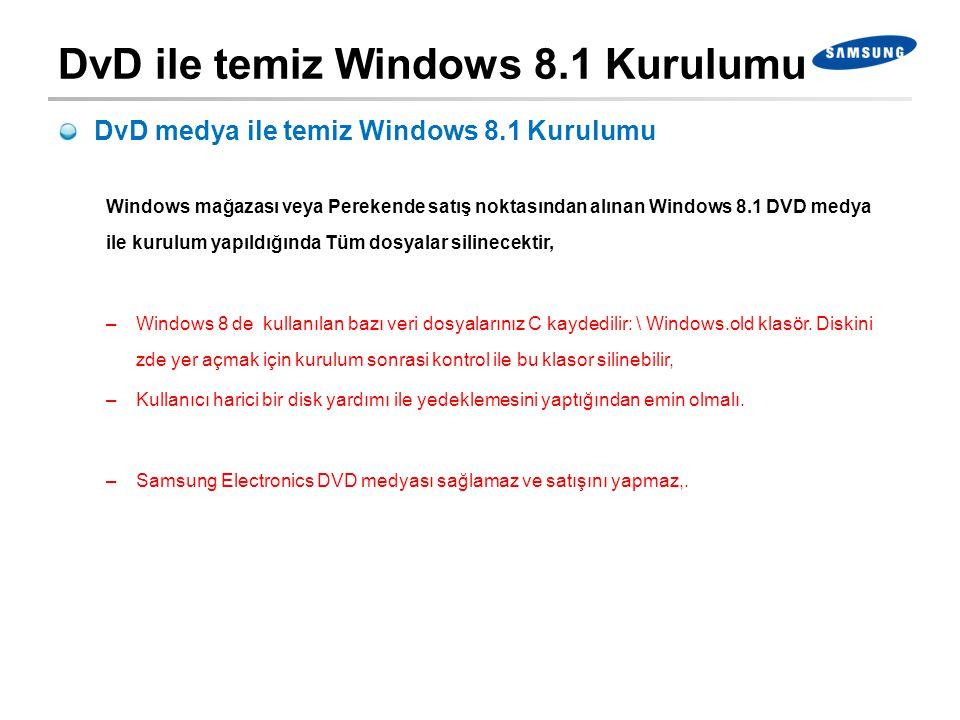 DvD ile temiz Windows 8.1 Kurulumu DvD medya ile temiz Windows 8.1 Kurulumu Windows mağazası veya Perekende satış noktasından alınan Windows 8.1 DVD m