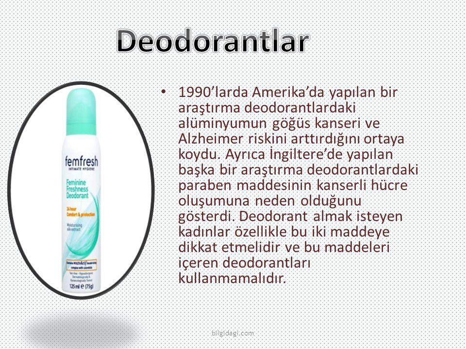 1990'larda Amerika'da yapılan bir araştırma deodorantlardaki alüminyumun göğüs kanseri ve Alzheimer riskini arttırdığını ortaya koydu.