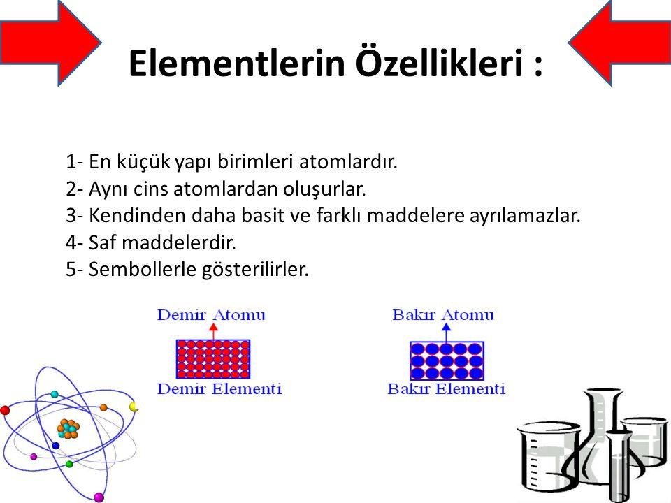 Elementlerin Özellikleri : 1- En küçük yapı birimleri atomlardır.