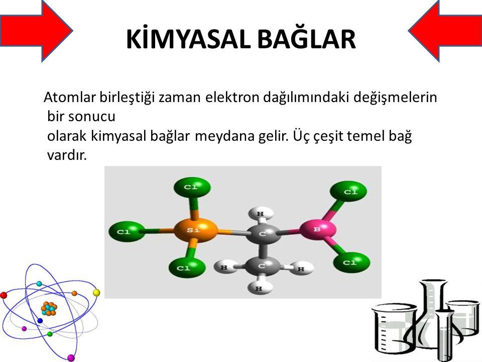 KİMYASAL BAĞLAR Atomlar birleştiği zaman elektron dağılımındaki değişmelerin bir sonucu olarak kimyasal bağlar meydana gelir.