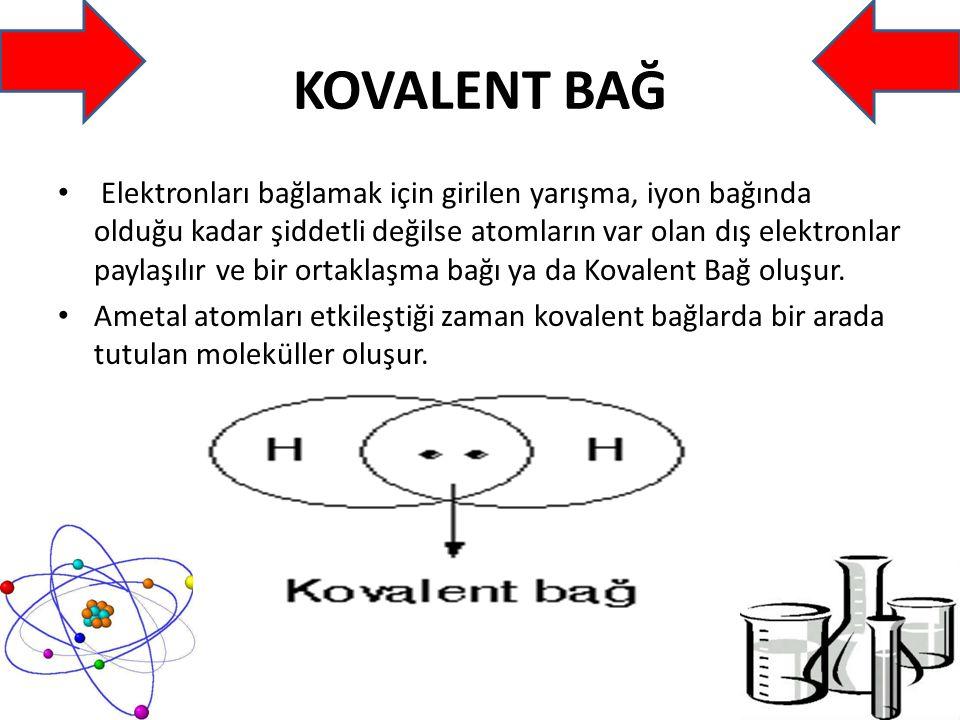 -Apolar Kovalent Bağ: Aynı cins iki ametal atomunun birleşmesiyle oluşur.