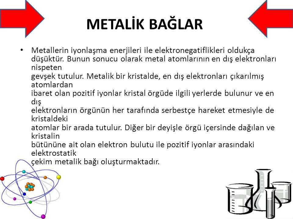 METALİK BAĞLAR Metallerin iyonlaşma enerjileri ile elektronegatiflikleri oldukça düşüktür.