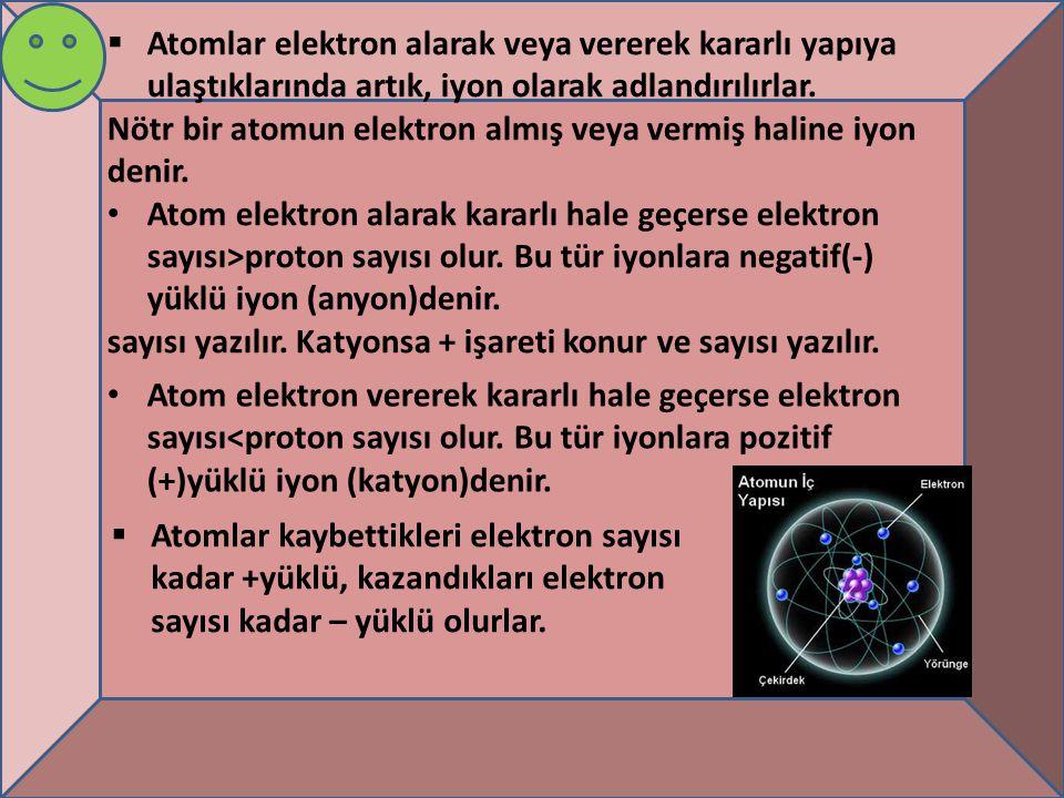 Not: iyon yükü =proton sayısı- elektron sayısı Eğer iyon anyonsa sembolün sağ üst kısmına – işareti konur ve aldığı elektron sayısı yazılır.