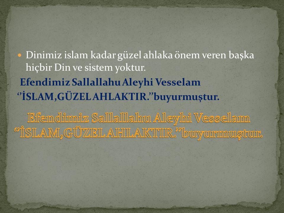 Dinimiz islam kadar güzel ahlaka önem veren başka hiçbir Din ve sistem yoktur. Efendimiz Sallallahu Aleyhi Vesselam ''İSLAM,GÜZEL AHLAKTIR.''buyurmuşt